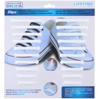 Elastische witte silicone schoenveters